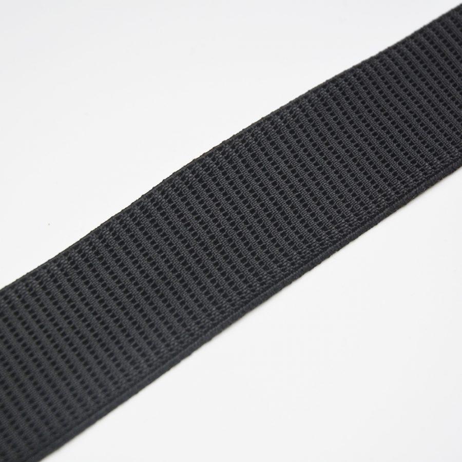 Ribbed Non-Roll Elastic - Black 32mm